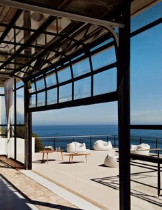 (Shown: Overhead door/windows. French photographer Jean-Marc Lederman's stunning South African house is located just minutes from Cape Town in the Bay of Llandudno) Garage Door Windows, Glass Garage Door, Patio Doors, Windows And Doors, Black Windows, Glass Doors, Door Design, House Design, Garage Design
