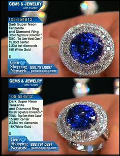 Tanzanite and diamond ring in 18K gold