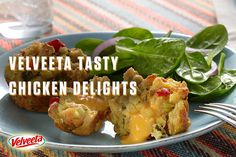 VELVEETA Tasty Chicken Delights Recipe - These pack big crowd-pleasing taste into a bite-sized package. Stuffing, chicken and gooey Liquid Gold, all ready in 30 minutes. For more Endless Gold recipes visit: velveeta.com