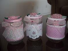Mason Jar Crafts, Mason Jar Diy, Bottle Crafts, Handmade Crafts, Diy And Crafts, Shabby, Tin Can Crafts, Jar Art, Baby Food Jars