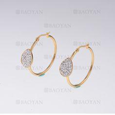 argollas con cristal de dorado en acero- SSEGG254830