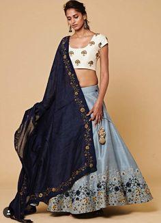 Bluish Gray Mulberry Silk Lehenga Choli Designs For Wedding Indian Lehenga, Blue Lehenga, Silk Lehenga, Golden Lehenga, Floral Lehenga, Silk Dupatta, Lehenga Choli Designs, Lehnga Dress, Bridal Lehenga Choli