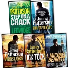 James Patterson with Michael Ledwidge Michael Bennett 5 Books Collection Pack Set Tick Tock, I, Step on a Crack, Run for Your Life, Worst Case