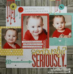#papercraft #scrapbook #layout Seriously page by Laura Vegas using Siders and Need Directions. (for kerribradford.com)