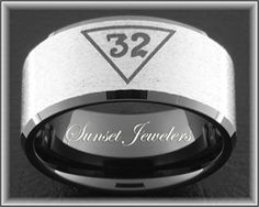Freemason Black Tungsten Ring Engraved with Masonic 32nd Emblem.  FREE Inside Engraving! Sunsetjewelers.com