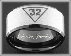 Freemason Black Tungsten Ring Engraved with Masonic 32nd Emblem.  FREE Inside Engraving! Sunsetjewelers.com
