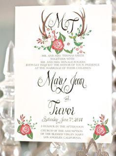 Antler wedding invitation in pink