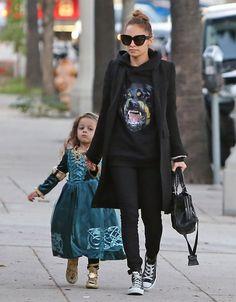 Nicole Richie casual, black, hoodie, coat, flats
