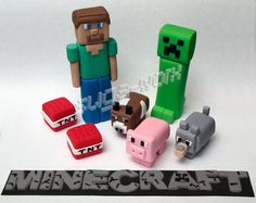 Minecraft style handmade sugarpaste birthday novelty cake toppers | eBay