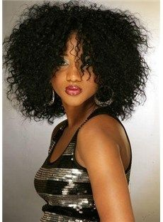 100% Human Hair Trendy Super Afo Cut African American Bob  Hairstyle Medium Curly Black Lace Wig about 13 Inches Makes You The Star of The P...