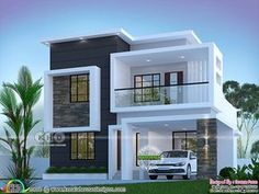 ft modern home design 3 bedroom beautiful cute modern contemporary house plan in an area of 1800 square feet by Dream Form from Kerala. Modern Small House Design, Modern Exterior House Designs, Modern House Facades, Modern Contemporary Homes, Small Modern House Plans, Contemporary House Designs, Contemporary Architecture, Modern Bungalow Exterior, Home Modern