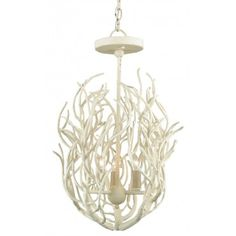 Like delicate ocean coral branches, this white elegant 23 inch high x 15 inch diamter, 3 light wrought iron chandelier would make such an elegant statement in your beach house! #corallighting