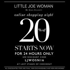 ✨S A L E✨ 20% OFF EVERYTHING✨  For today only! Enter LJWOSN16 at final stages of checkout  http://www.LittleJoeWoman.com  #sale