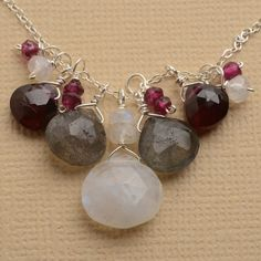 moonstone necklace silver chain necklace garnet necklace by izuly, $99.00