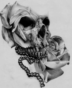 Skull and Rose Tattoo Designs Unique ▷ Skull and Rose Tattoo Designs 1012 1234 Sketch Skull Skull Rose Tattoos, Body Art Tattoos, Sleeve Tattoos, Rose Drawing Tattoo, Tattoo Sketches, Tattoo Studio, Manos Tattoo, Totenkopf Tattoos, Tatuajes Tattoos