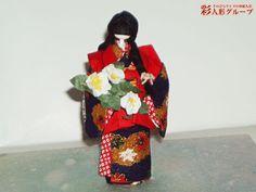 山茶花 彩人形-手のひらサイズの和紙人形-