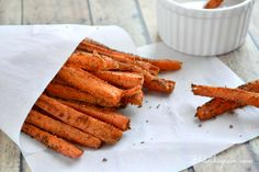 Cinnamon Carrot Fries      1 Pound carrots     1 Heaping tablespoon coconut oil     ½ Tablespoon Cinnamon     1 Teaspoon coconut flour     Optional: Coconut butter for serving