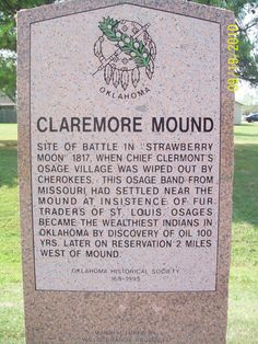Claremore Ok. Mound Historical Marker.  This granite historical marker was created by Willis Granite Products.  See more at www.willisgranite.com