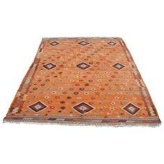 "Vintage Turkish Kilim Rug - 5'11"" X 8'6"" ($1,189) ❤ liked on Polyvore featuring home, rugs, hand-loomed rug, hand loomed rug, hand woven wool rugs, kilim rugs and wool kilim rug"