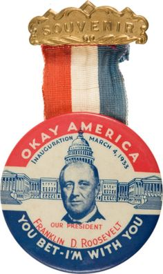 Souvenir FDR inauguration button with ribbon, 1933