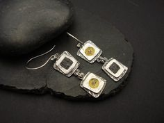 Yellow and Grey Concrete Earrings  NEW STYLE by designsbysuzyn, $80.00