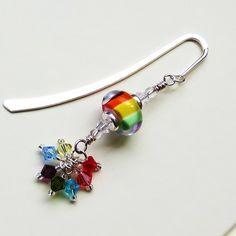 Rainbow Sparkle lampwork beaded bookmark. £12.00