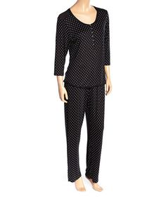 5d411c982a Loving this Black Dot Don t Mesh with My Heart Pajama Set - Women on