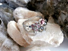 Multi Crystal Ring - Silvertone Cocktail Piece by ReTainReUse on Etsy