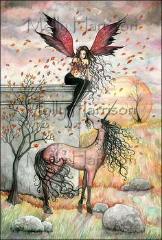 Enchanted Autumn Fairy Unicorn Fine Art Giclee by MollyHarrisonArt
