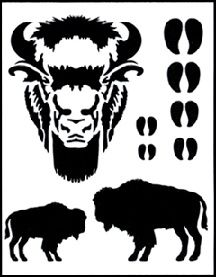 Stencil - Buffalo-for the teepee? Also bears and paw prints, etc on website.
