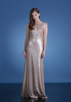 Gold draped cowl back sequin column gown | Love, Yu Bright Lights Collection + an Interview with the Designer