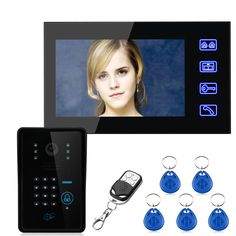 """Free Shipping!Touch Key 7"""" TFT RFID Password Video Door Phone Intercom System with IR-CUT 1000 TV Line Access Control System"""