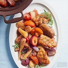 Sweet plums, parsnips, and a maple-rosemary sauce make this slow cooker meal worthy of a dinner party. /