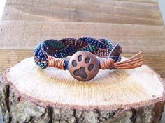Copper Paw Print and Beaded Braided Leather Wrap Cuff Bracelet, Paw Bracelet, Paw Print Jewelry, Animal Lover Bracelet, Animal Lover Jewelry Braided Leather, Leather Cord, Women's Trends, Silver Apples, Apple Watch Bands, Unique Gifts, Babe, Teal, Copper