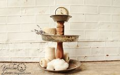 Tiered Metal Stand - Created from Vintage Pie Tins by KnickofTime