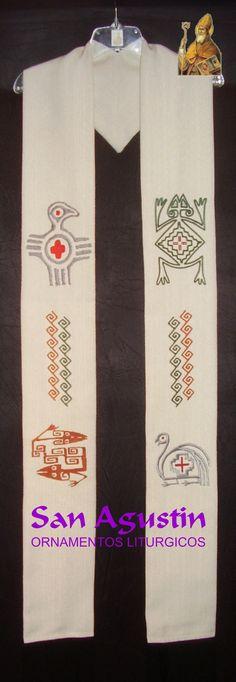 Estola con bordados de estilo pueblos originarios