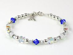 Esophageal Cancer Awareness Bracelet - Swarovski® Crystal & Sterling Silver (Everyday) by Aqua Moon Keepsakes. We donate a portion of the proceeds of the sale of each awareness item to research for a cure. Pancreatic Cancer Awareness, Esophageal Cancer, Colon Cancer, Testicular Cancer, Alzheimers Awareness, Bone Cancer, Liver Cancer, Thyroid Cancer, Keychains