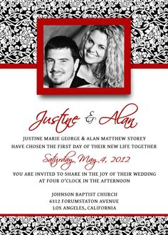 wedding invitations template psd photoshop gimp damask red black white
