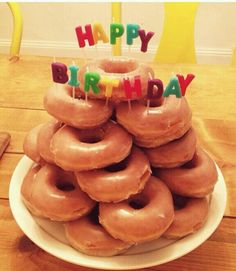 "Birthday Week - an artfully stacked ""donut cake"""