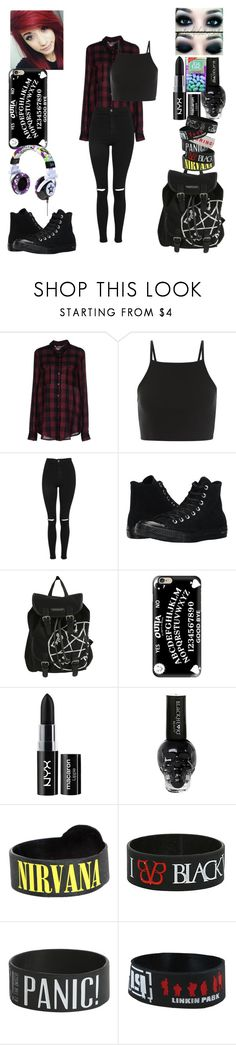 """Back To School outfit"" by obsessed-with-bands ❤ liked on Polyvore featuring ONLY, Topshop, Converse, Hot Topic, Casetify and NYX"