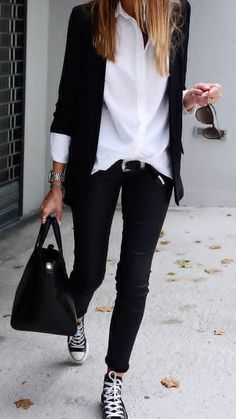 Adrette Outfits, Spring Outfits, Casual Outfits, Fashion Outfits, Womens Fashion, Work Fashion, Fashion Looks, Look Blazer, Looks Black