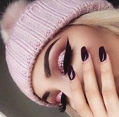Pink sparkle/burgundy realness!