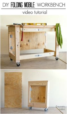 Learn how to make an easy, folding mobile workbench from simple materials.