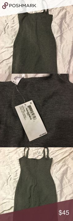 American Apparel gray body con dress NWT!! Tight gray body con dress that looks absolutely amaaaazing on American Apparel Dresses