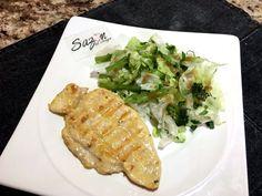 Pollo con ensalada verde