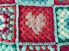 granny square with a heart