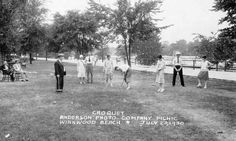 Croquet at Winnwood Beach - July 23, 1930 ----- This photograph in our Missouri Valley Special Collections was taken at the Anderson Photo Company employee picnic at Winnwood Beach (an amusement park built in Kansas City, North, near present-day I-35 and Antioch Shopping Center.)   ---  Historic Kansas City Photo from Missouri Valley Special Collections, Kansas City Public Library, Kansas City, Missouri.