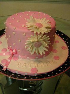 Pink And White Daisy Birthday Cake