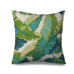 Popeven Tropical Cushion Cover for Couch Square Canvas Accent Palm Tree Leaves Decor Pillow Cover Green Sofa Standard…