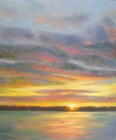 "Robie Benve Art: ""Sunset at Silver Lake"" Oil Painting"